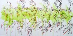 Andrea duplicada VI, Mischtechnik auf Leinwand, 2012, 160 x 80 cm
