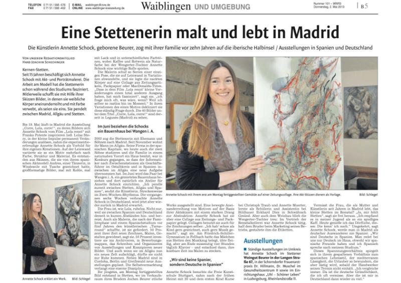 Artikel in der Waiblinger Kreiszeitung vom 2.5.2013