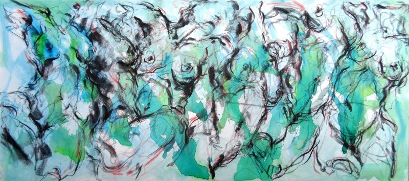 Movimiento XI, 2013, Mischtechnik auf Leinwand, 80 x 180 cm